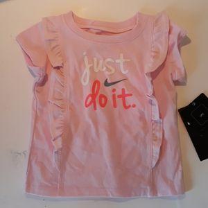 Nike Just Do It pink shirt ruffles 18m